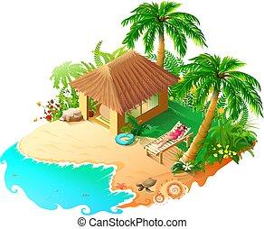 mujer, árboles, sol, 3d, vacaciones, playa, sol, lounger., isométrico, azul, mar, verde, palma, dorado, sand., hermoso