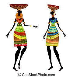 Mujer étnica con jarrón