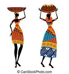 mujer, étnico, florero