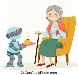 mujer, 3º edad, robot, ayudar, eldercare