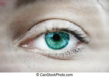 Mujer abstracta ojos verdes hechos de puntos