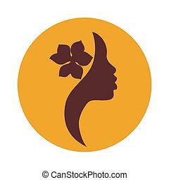 Mujer afroamericana cara icono