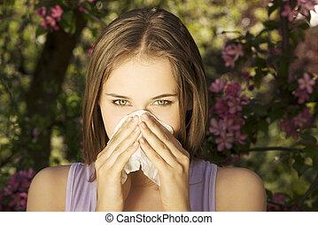 mujer, alergia, joven