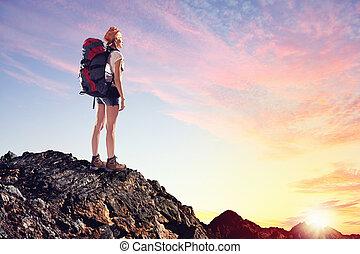 mujer, alpinista, joven