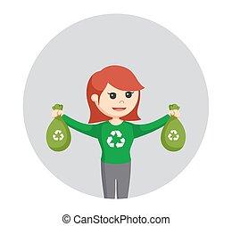 mujer, ambiental, bolsa plástica, activista, plano de fondo, reciclar, círculo