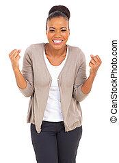 mujer americana, afro, excitado