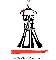 mujer, amor, negro, faschion., silhouette., vestido rojo