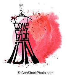 mujer, amor, vestido, acuarela, silhouette., palabras, fashion., mancha