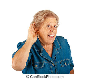 Mujer anciana, problemas de audición
