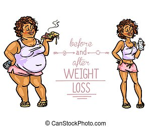 Mujer antes y después de la pérdida de peso.
