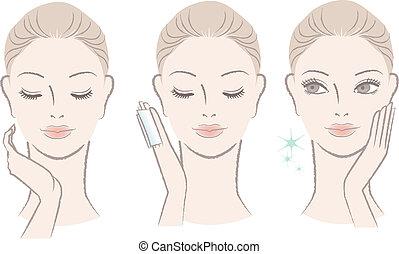 Mujer aplicando loción facial