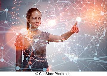 Mujer apretando botones en concepto de negocios