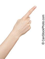 mujer, arriba, señalar, mano