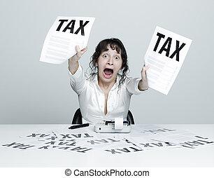 mujer, asustado, impuestos
