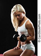 mujer, atlético, entrenamiento, joven, condición física, dumbbell