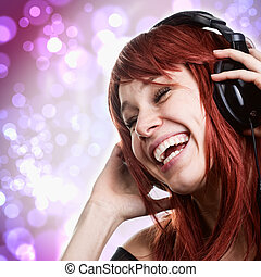 mujer, auriculares, música, diversión, teniendo, feliz