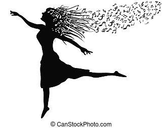Mujer bailando con una nota musical