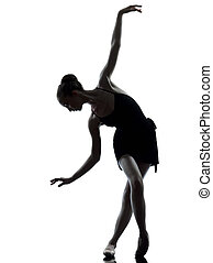 mujer, ballet, extensión, arriba, joven, bailarina, bailarín, warming