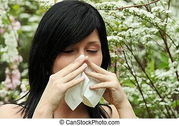 mujer, bastante, estornudo