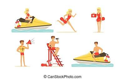 mujer, beach-rescue, caracteres, su, deberes, amaestrado, hombre