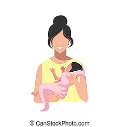 mujer, bebé, parto, después