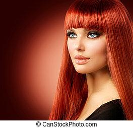 mujer, belleza, cara, pelo, portrait., modelo, niña, rojo