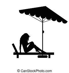 Mujer bonita en la silla negra ilustración