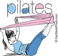 mujer, bosquejo, pilates, banda, resistencia, ilustración, caucho, gym., vector, condición física, deporte