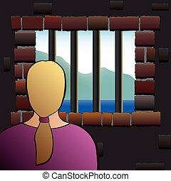 mujer, cárcel, cautiverio, detenido