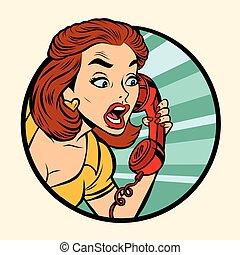 Mujer cómica hablando por teléfono retro