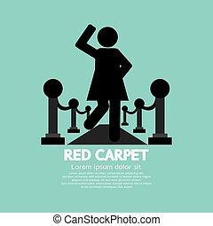 Mujer caminando en el símbolo de la alfombra roja.