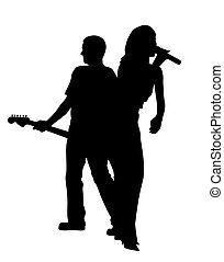 Mujer cantante y hombre guitarrista espalda con espalda