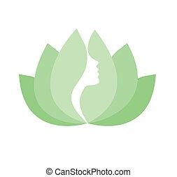 Mujer cara de perfil en flor de loto