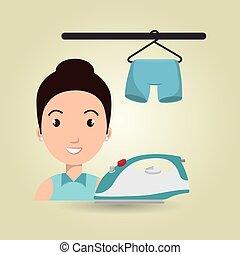Mujer caricatura de dibujos animados colgando pantalones