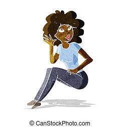 mujer, caricatura, escuchar