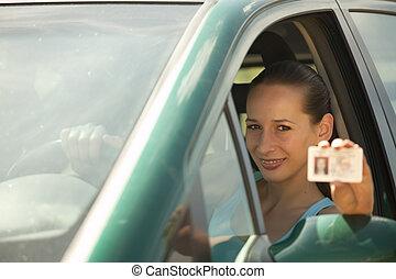 mujer, carnet de conducir, tenencia