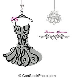 mujer, chandelier., plantilla, dress., mejor, silhouette., palabras, vestido