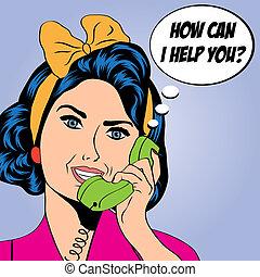 Mujer charlando por teléfono, ilustración de arte pop