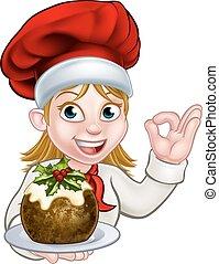 mujer, chef, pudín, tenencia, sombrero, navidad