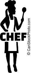 Mujer chef silueta con palabra