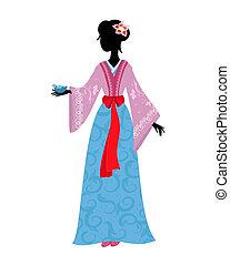 Mujer china con traje tradicional con un pájaro