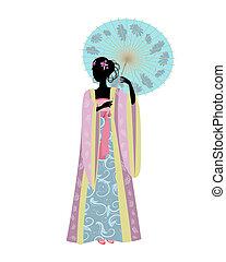 Mujer china con un paraguas en traje tradicional
