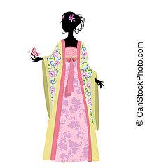 Mujer china con una mariposa en traje tradicional