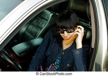 mujer, coche, joven, vocación, teléfono, atractivo, celular