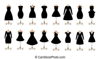mujer, collection., set., moda, hembra negra, icono, vestidos, ropa