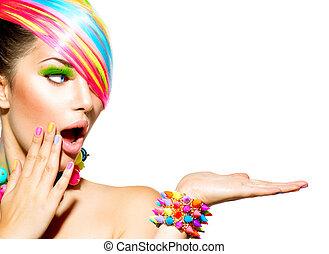 mujer, colorido, pelo, belleza, maquillaje, clavos, accesorios