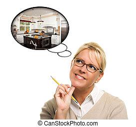 Mujer con burbujas de pensamiento de un nuevo diseño de cocina