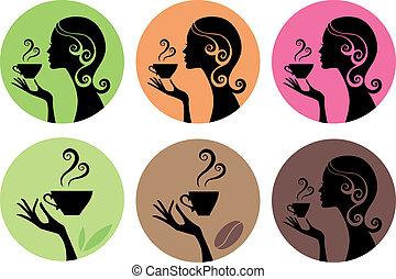 Mujer con café y té, vector