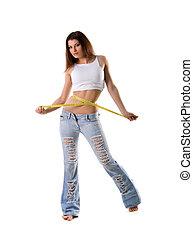 Mujer con cinta adhesiva