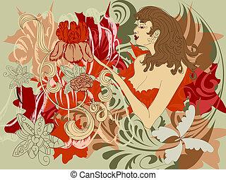 Mujer con flores en lugar de manos